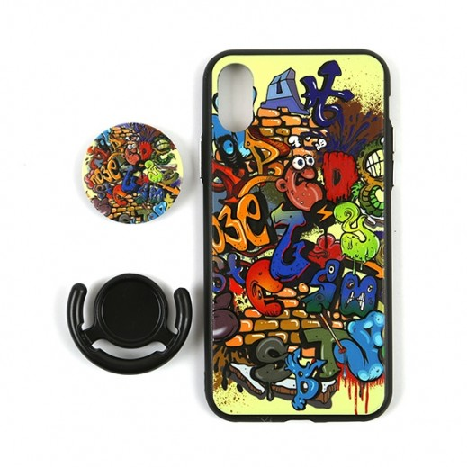Boter 3 in 1 Fashion Case & Holder for iPhone X – Multi Colored Graffiti