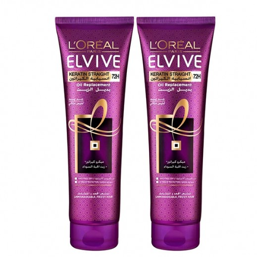 L'Oreal Elvive Keratin Straight Oil Replacement 2 x 300 ml