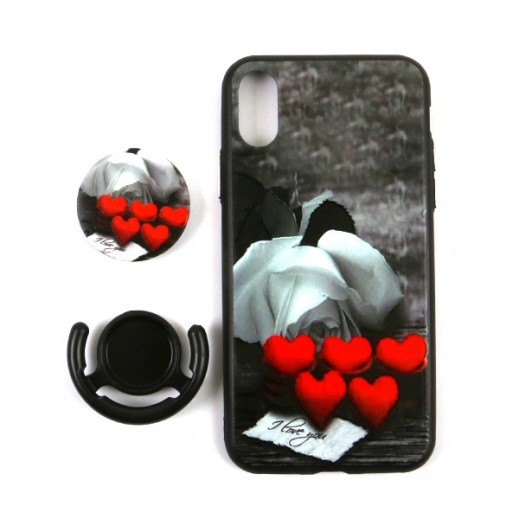 Boter 3 in 1 Fashion Case & Holder for iPhone X – Red Hearts