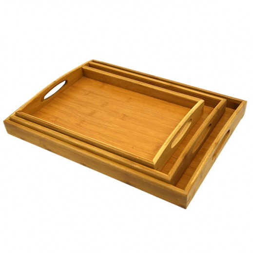 Wooden Tray Set - 3 Pieces
