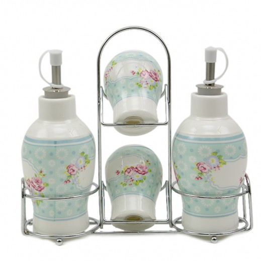 Fine Porcelain Seasoning Set with Metal Stand - 4 Pieces