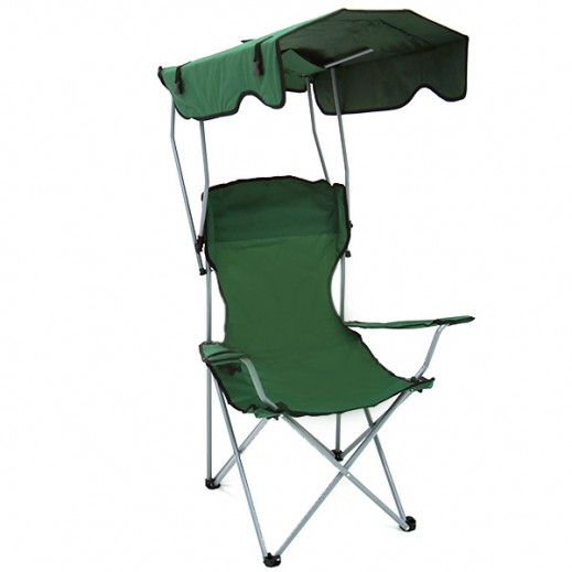 Foldable Chair with Sun Shade - Green