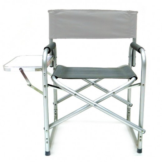Foldable Camping Chair with Side Table - Grey