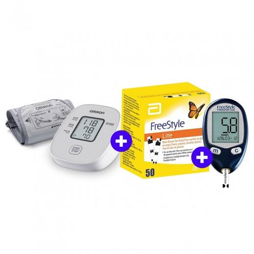 Omron M2 Basic Blood Pressure Monitor + Freestyle Blood Glucose Machine Lite + Lite Strips 50 Pieces