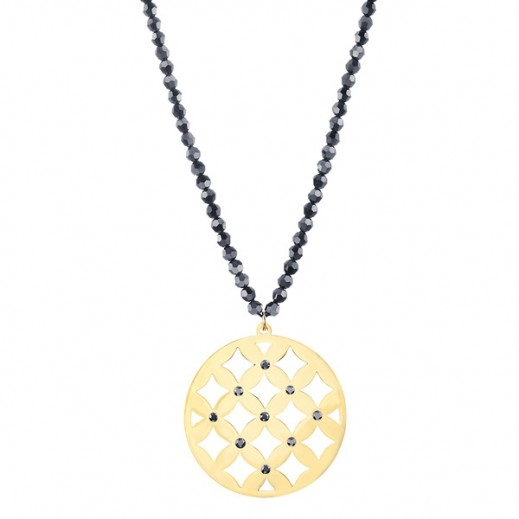 Lola & Grace Arabesque Filigree Pendant Necklace With Black Crystal - delivered by Beidoun