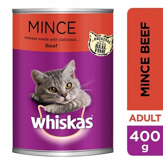 Whiskas Adult Cat Food Tasty Mince Beef 400 g