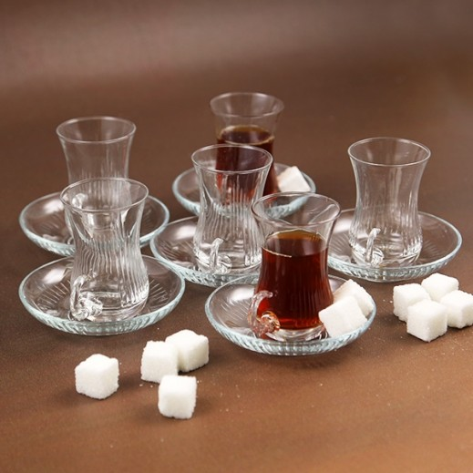 ASC Istikana Cup and Saucer Set with Lines - 12 Pieces