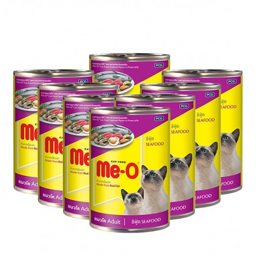 Me-O Seafood Platter In Prawn Jelly Adult Cat Food 8x400 g