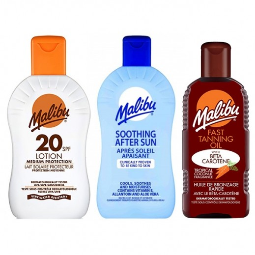 Malibu Sunscreen Lotion SPF20 100 ml + Soothing After Sun Lotion 100 ml + Fast Tanning Oil 100 ml
