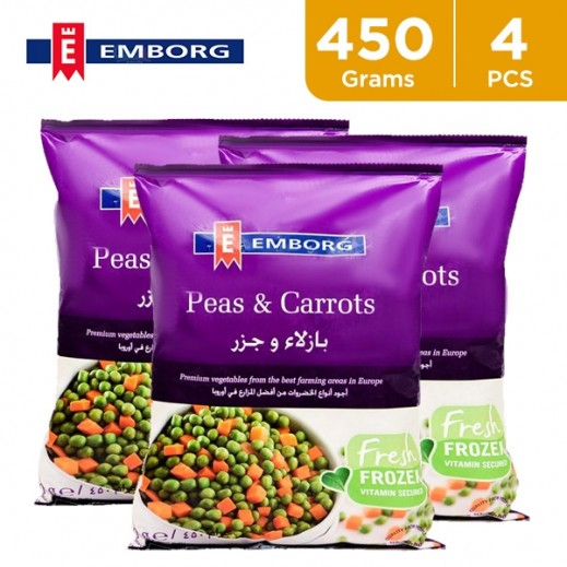 Value Pack - Emborg Frozen Vegetable Peas & Carrots 450 g (4 Pieces)
