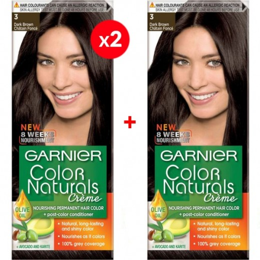 Garnier Color Naturals Crème 3 Dark Brown 2 + 1 Free Prom