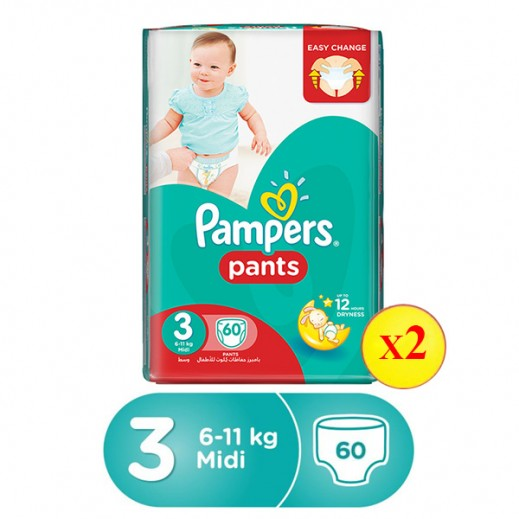Pampers Pants Size 3 Midi (4 - 9 Kg) Jumbo Pack 2 X 60 Pieces 20% Off Prom
