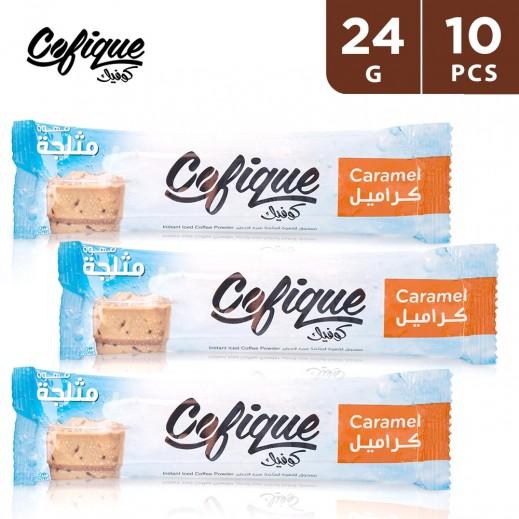 Cofique Caramel Instant Iced Coffee Powder 24 g (10 Sticks)
