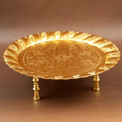 ASC Gold Plated Round Tray Small
