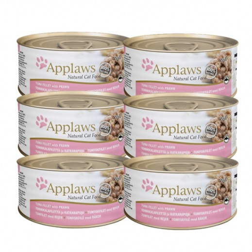 Applaws Natural Cat Food Tuna Fillet With Prawn 6 x 156 g