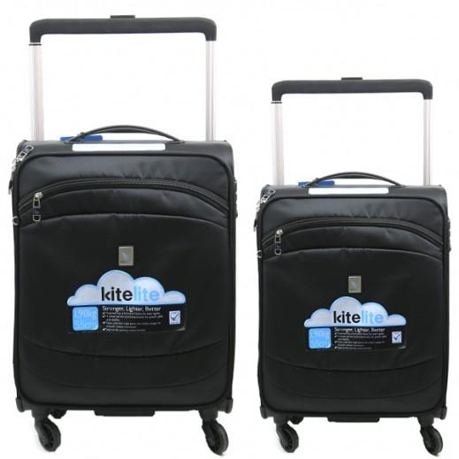 Kite Lite Spinner Luggage 2 Pieces Set - Black