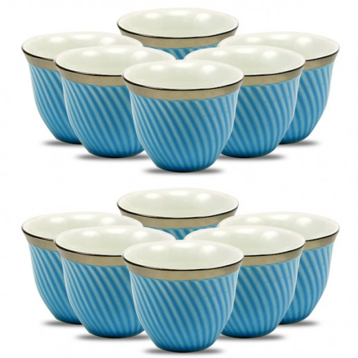 Porcelain Cawa Cup Set 12 Pieces - Blue