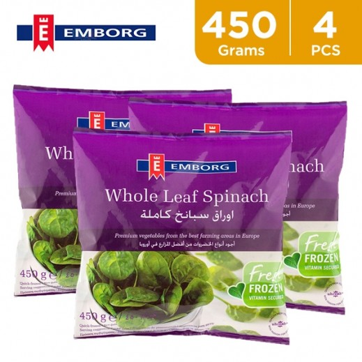 Value Pack - Emborg Frozen Whole Spinach Leaf 450 g (4 Pieces)