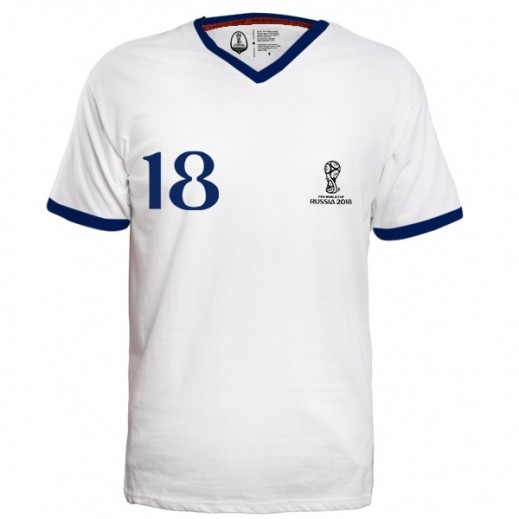 Fifa World Cup Russia 2018 Generic Men T-shirt V Neck White Small-XXLarge