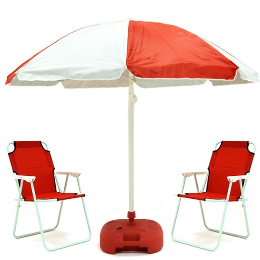 Beach Chairs & Umbrella Set Red
