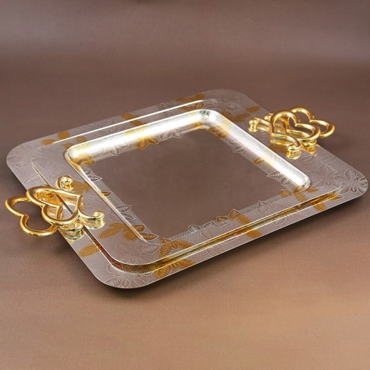 ASC Gold and Silver plated Serving Tray Set with Handle - 2 Pieces