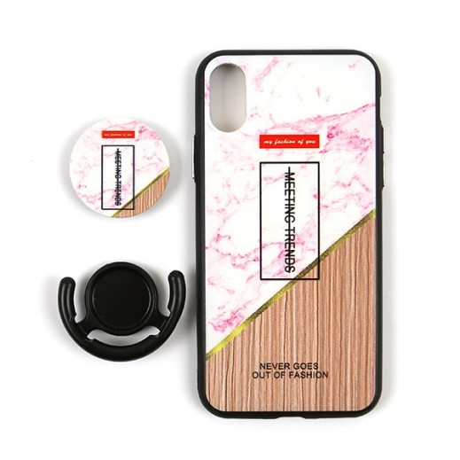 Boter 3 in 1 Fashion Case & Holder for iPhone X – Pink & White Marble
