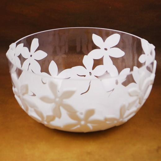 Acrylic Salad Bowl White Flower 32 L