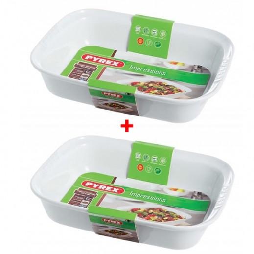 Pyrex Ceramic Rectangular Roaster Baking Dish (1+1 Free)