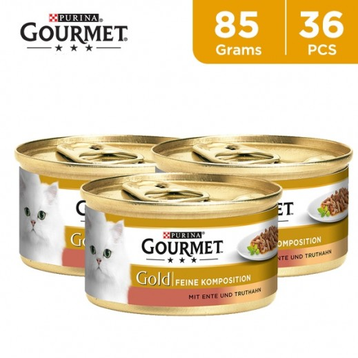 Purina Gourmet Gold Casseroles With Duck & Turkey In A Brown Sauce 36 x 85 g