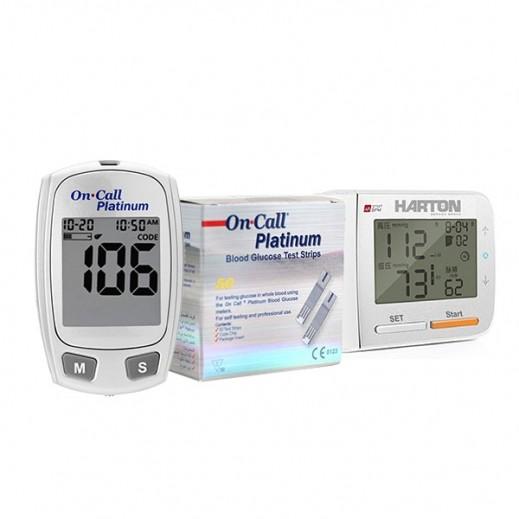 Harton Wrist Blood Pressure Monitior YE8900 + On Call Platinum Glucometer + Strips 50 Pieces