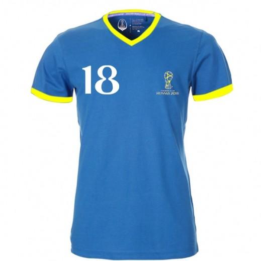 Fifa World Cup Russia 2018 Generic Men T-shirt V Neck Royal Blue Small-XXLarge