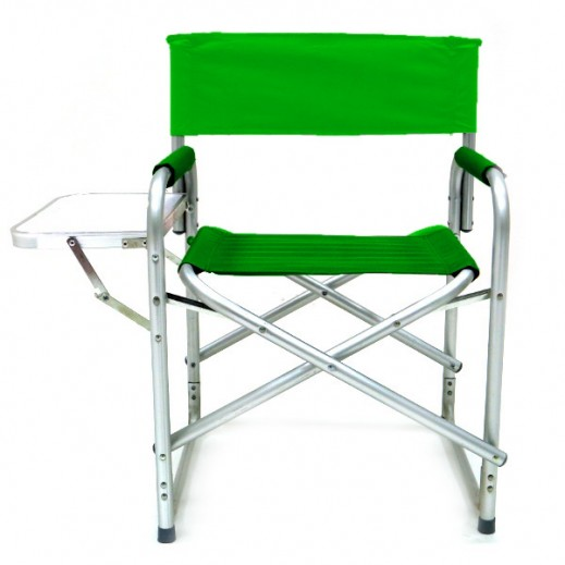 Foldable Camping Chair with Side Table - Green