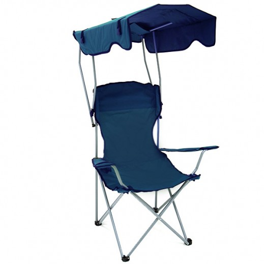 Foldable Chair with Sun Shade - Blue