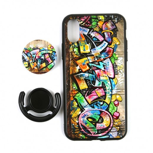 Boter 3 in 1 Fashion Case & Holder for iPhone X – Yellow Graffiti