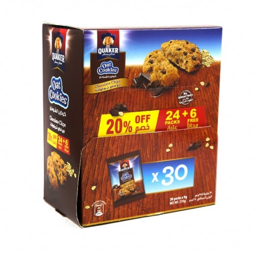Quaker Oat Cookies Chocolate Chip 9 g (24 + 6 Free)