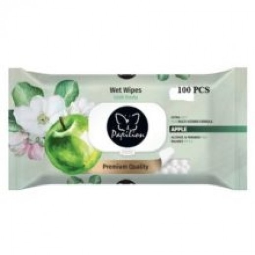 Papilion Apple Fragrance Wet Wipes With Cap 64 Sheets