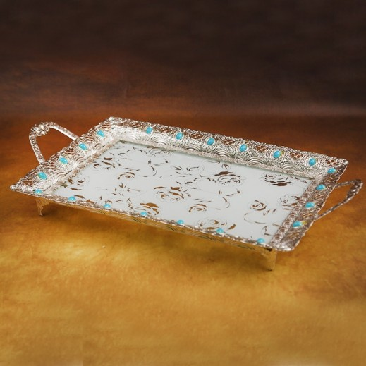 Designer Glass Tray with Metal Handle Small Silver and Blue