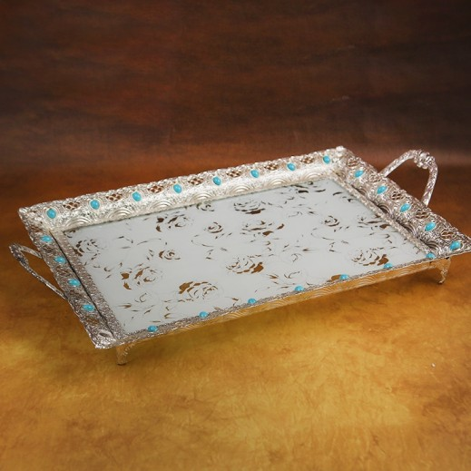 Designer Glass Tray with Metal Handle Large Silver and Blue