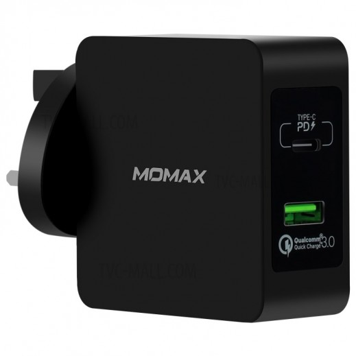 Momax One Plug 2 ports Fast Charging Adaptor - Black