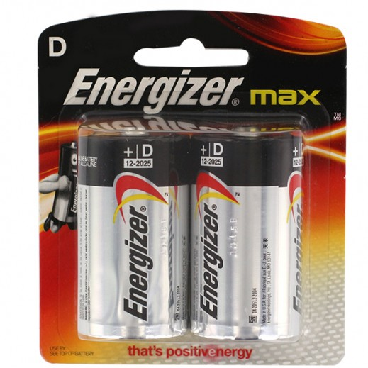 Energizer Max Alkaline D Size Battery 2 Pack