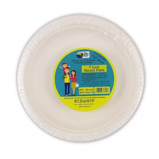 Ecoware Biodegradable Round Plates 7 inch - 20 Pieces