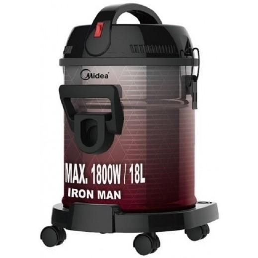 Midea 1800 W Drum Vaccum Cleaner 18L - Black & Red