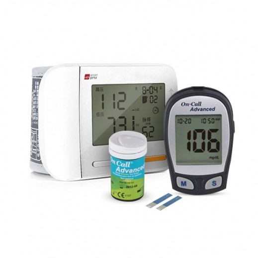 Harton Wrist Blood Pressure Monitior YE8900 + On Call Advanced Glucometer + Strips 25 Pieces
