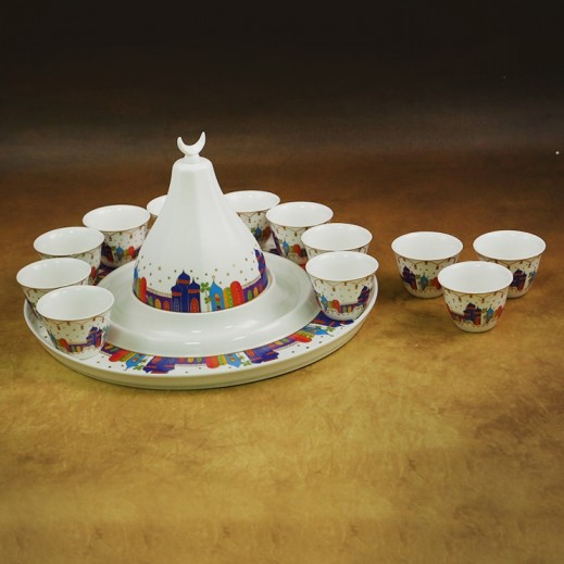 Ceramic Cawa Cups With Date Tray - 14 Pieces