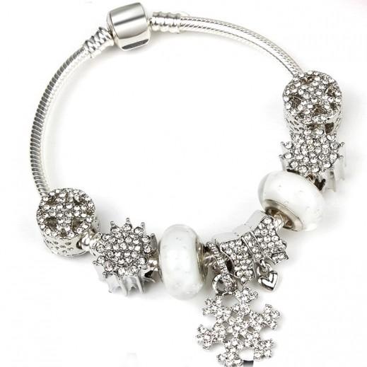 Homhul Trendy White Snowflake Charm Bracelet 19 cm