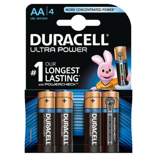 Duracell AA Alkaline Ultra power Batteries 4 Pack (1.5V)