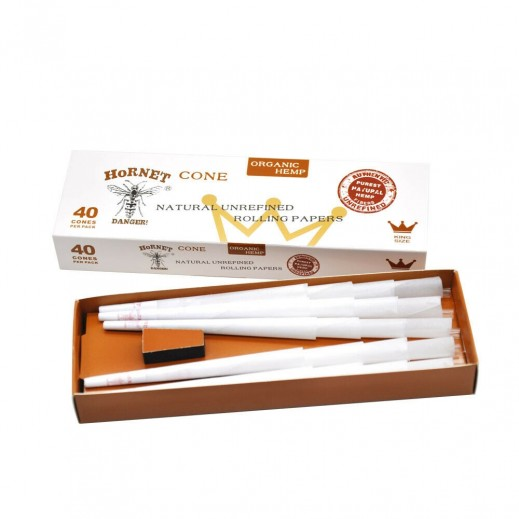 Hornet White Pre-Rolled Rolling Paper Cones 40 Pieces