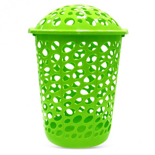 Plastic Laundry Basket with Lid Green