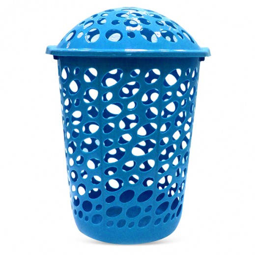 Buy Plastic Laundry Basket With Lid Blue توصيل Taw9eel Com