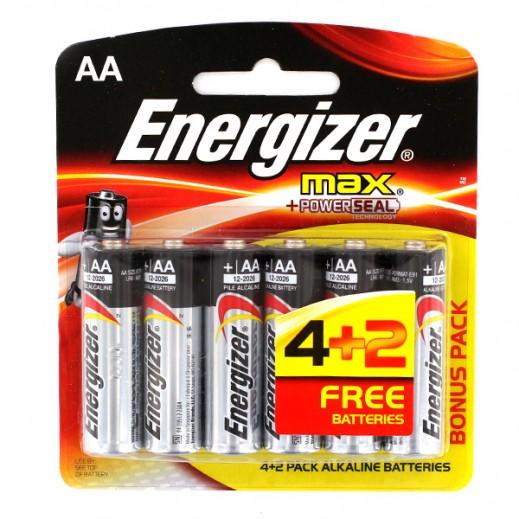 Energizer AA Alkaline Batteries 4+2 Free Pack (1.5V)